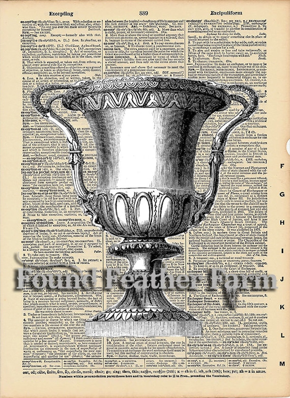 """Vintage Antique Dictionary Page with Antique Print """"Architectural Urn Three"""""""