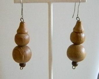 Long Wooden Beaded Dangle Pierced Earrings