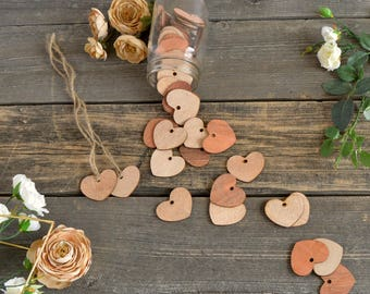 "Adorable Wood Hearts ~ 2"" ~ With Hole ~ Cute Little Wooden Hearts! Valentine's Day ~ DIY Valentine"