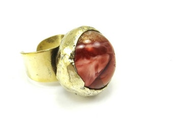 Brutalist Ring Size 6 Brass Agate Ring Red Banded Agate Adjustable Ring Brutalist Jewelry Signed Denmark Danish Modern Jewelry
