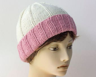 Hand Knit Winter Hat, Pink and White Woman's Warm Hat, Knit Beanie,  Ready to Ship