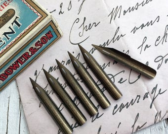Orient nibs, Exchequer Series. 6 vintage dip pen nibs from Thos Bower & Son, London. Unused vintage stock.