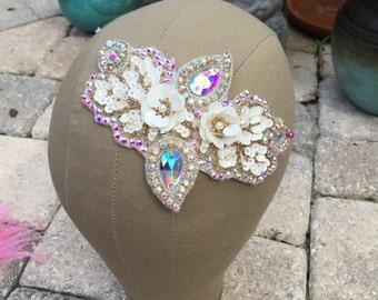 Swarovski Crystal AB Ivory Beaded Sequin Flower Hairpiece