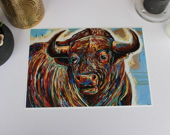 Bull RMH ART print, 5x7, A3, A4, Bull art, cow art, highland cow, cow art, bull head art, cattle, bull horns, country decor,