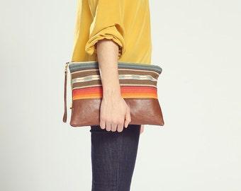 Ethnic Clutch Bag. Southwestern Bag. Brown Leather Clutch. Boho Clutch. Oversized Clutch. Mexican Bag. Boho Bag. Striped Clutch Bag.