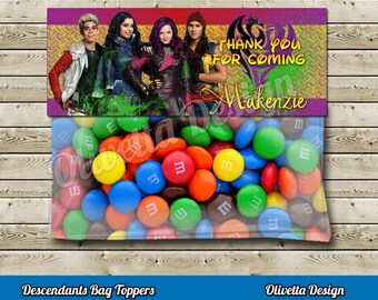 Descendants Favor Bag Toppers Personalized BIRTHDAY party Printable - Digital File