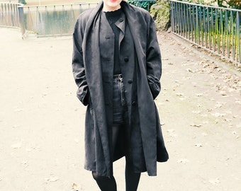 Long vintage coat with scarf collar