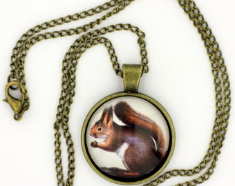 Cute Squirrel Necklace or Keychain