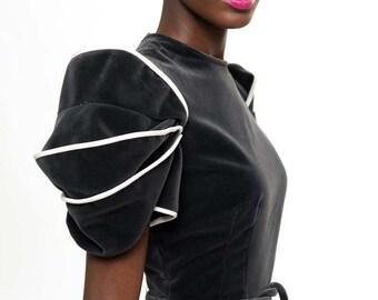 Velvet Carolina Herrera Structured Shoulder Dress