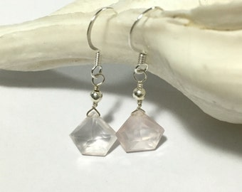 Rose Quartz Earrings - Diamond Gemstone Earrings - Pink Quartz Gemstone - Sterling Silver Gemstone Earrings - Gemstone Jewelry - Light Pink