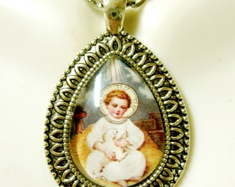 Baby Jesus with a lamb teardrop pendant with chain - AP15-105