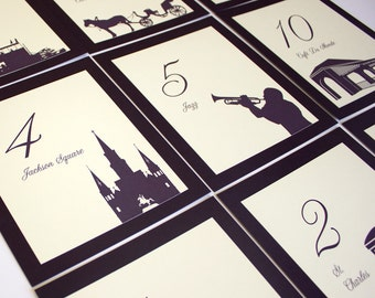 New Orleans Table Number Wedding Decor Reception Sign Table Marker Card Place Setting