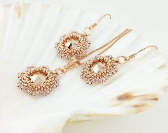 Rose Gold Dangle Earrings- Rose Gold Necklace- Bridesmaid Gift Jewelry Set- Flower Earrings- Swarovski Crystals Earrings- Rose Gold Earrings