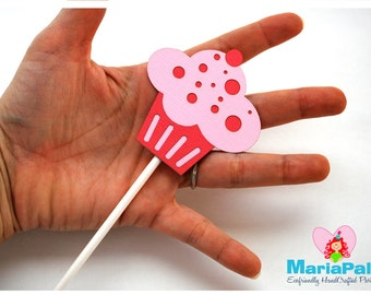 Cupcake Party Cupcake Topper, Deluxe Die cut cupcake toppers, Pink cupcake girl party A1006