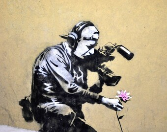 Massive 180cm x 90cm Banksy Camera Man Flower Style repro signed by Pepe Street stencil Art Painting Urban Custom canvas Graffiti