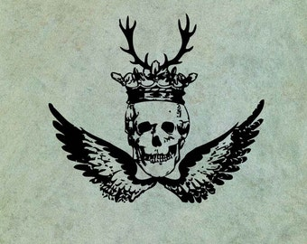 Winged Skull with Crown and Antlers - Antique Style Clear Stamp