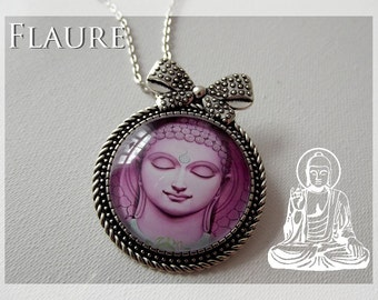"Pin / Necklace ""Buddha '' purple"