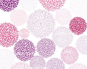 Pink and Purple Blossoms Clip Art Set - printable digital blooms clipart - instant download