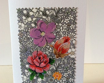 Handmade card,  Blank card, any occasion card, flower card,   vintage fabric,  roses card, purple flowers,  red roses card,  birthday card