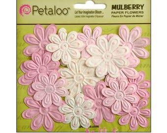 Set of 24 pink paper flowers embellishment scrapbooking Petaloo white *.