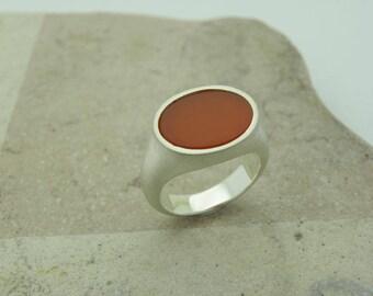carnelian silver ring, carnelian statement ring, carnelian coat ring, carnelian seal ring