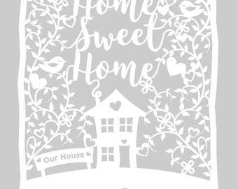 Downloadable Papercut Template 'Home Sweet Home' Printable PDF or JPEG template