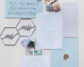 Mr. and Mrs. Wedding Place Settings - Geometric Hexagon Design - Laser cut wood or acrylic
