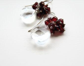 Rock Crystal Earrings Clear Crystal Faceted Heart Shaped Earrings Garnet January Cluster Earrings Sterling Silver Bridal Wedding Gift Idea