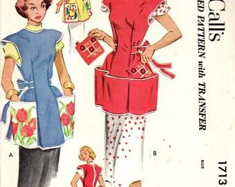 McCall's 1713 Cobbler Apron and Tic Tac Toe Potholders Vintage 1950s