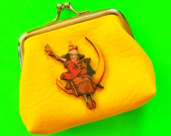 Witchy Wonderful Coin Purse Bright Yellow Luxe Leather Black Cat Broomstick Crescent Moon Silver Kisslock Clasp Pouch