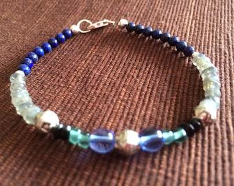 Lapis-Labradorite-Antique Glass beaded bracelet