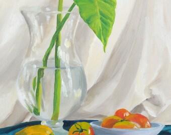 Still Life Vase and Vegetables.