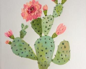 """Flowering Cactus 2 Original Painting on 12x12"""" Watercolor Paper by Karen Fields"""