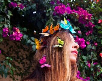 Rainbow Butterfly Crown, Statement Festival Headpiece, Rainbow Flower Crown, Floral Crown, Wedding Halo