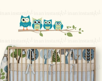 Owl Wall Decal, Owls on a Branch for Baby Nursery, Kids or Childrens Room 042