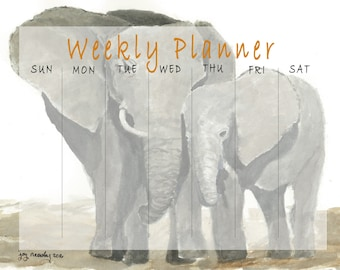 Elephants Printable Weekly Calendar Page ready for download in various sizes