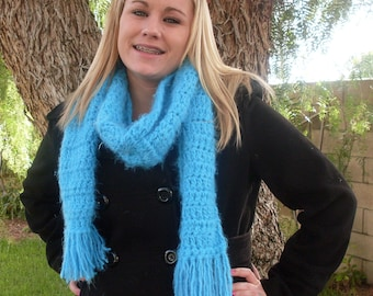 Blue Scarf -  Hand Crocheted - Super Soft Angel Hair - One of a kind and ready to ship