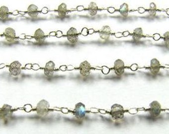 Blue Labradorite Rosary Chain Beads 9 to 18 Inches Sterling Silver 3.5mm Rainbow Blue Gemstone Take 20% Off Blue Labradorite Jewelry Supply