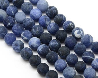 10 x 8mm Sodalite Frosted (matte) round beads