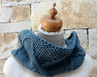 Knit French Blue Cowl. French Blue Snood. Tweed Diamond Cowl. Aran Infinity Cowl. Infinity Scarf. Relaxed Cowl.  French Blue Neckwarmer.