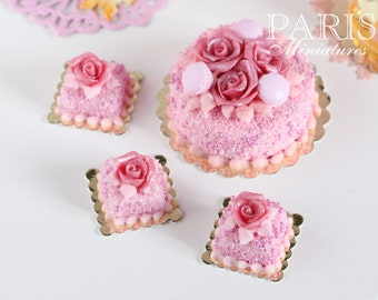 Pink Rose Pastry (Square) - 12th Scale Miniature Food (Pink Collection 2014)