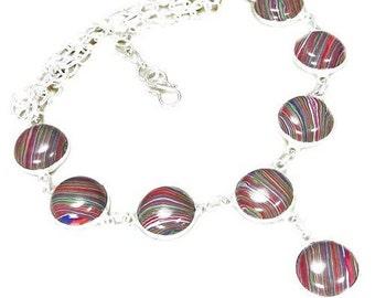 Rainbow Calsilica & 925 Silver Overlay Beaded Necklace