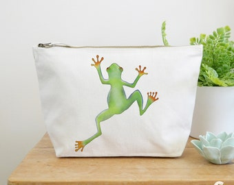 Tree Frog Canvas Wash Bag, Large Zipper Pouch, Makeup Bag, Toiletry Bag, Accessory Bag, Frog Gift