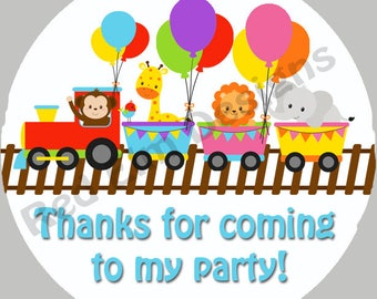 "Baby Animal Train Stickers - Sheet of 20 - 2"" round.  Zoo Train Birthday Party Favors.  2 Inch Round Train Stickers"