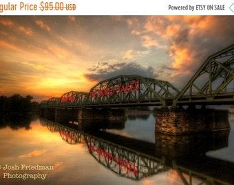 SALE 20% Off Trenton Makes Bridge at Sunset Fine Art Photograph Instant Digital Download Reflection Delaware River New Jersey Pennsylvania L
