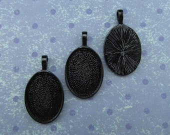 10 Pendant Trays 18x25mm - Dark Black Oval Trays - Vintage Antique Style Pendant Blanks Cameo Bezel Settings - 18 x 25 mm - 11/16 x 1""