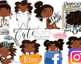 Planner Social icons,African American stickers, African American girl, Shower icon, Planner stickers, Doctor Appointment icon, Date night