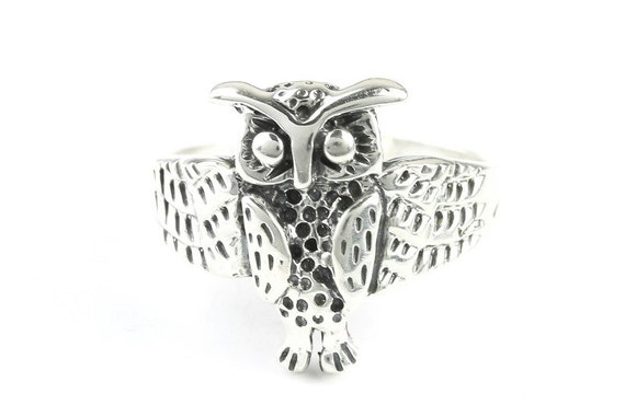 Wisest Owl Ring, Sterling Silver Flower Ring, 925, Bird Ring, Boho, Gypsy, Festival Jewelry, Hippie Jewelry, Nature