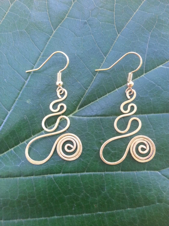 Spiral Wire Earrings/ Wire Wrap/ Bronze Jewelry/ Dangle Earrings ...