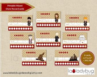 Chore reward cards Wizard. Printable chore punch cards for girls or boys. Reward punch cards. Instant download. JPEG File, High resolution.